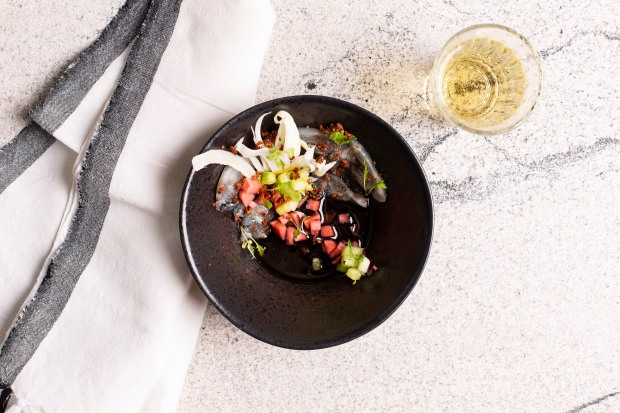 Basalt - Ceviche with squid ink tiger's milk, pickled radish, marinated cucumber & crispy quinoa (HR) 3 photo Annalize Nel