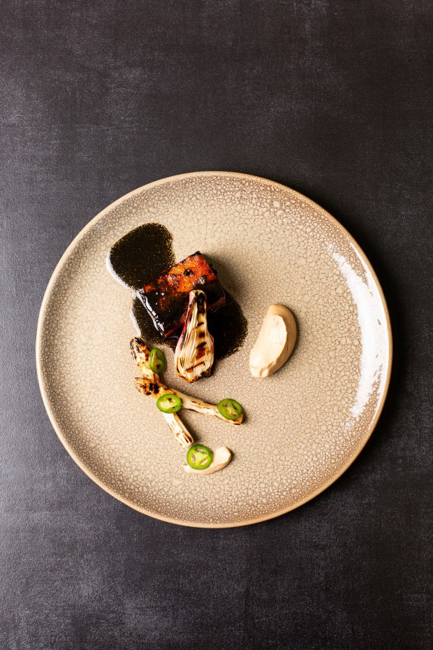 Basalt- Mexican Inspired Pork Belly with Ricarda Negra, charred asparagus & toasted almond mole (HR) 2 photo Annalize Nel