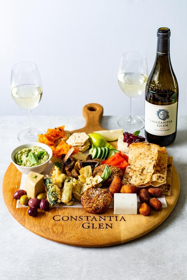 Vegan Platter and Constantia Glen Sauvignon Blanc